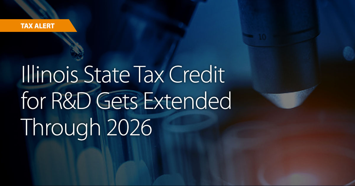 Illinois Governor Signs Five-Year Extension for Research and Development Tax Credit and Creation of New Apprenticeship Tax Credit